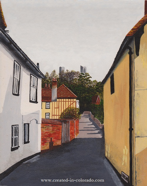 The Village of Castle Hedingham, painted by watercolor artist Shirley Miller