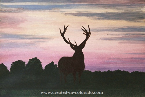Red Stag at Dusk by Colorado Watercolor Artist Shirley Miller.