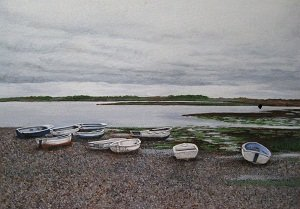 So Peaceful, Low Tide acrylic painting by Colorado artist Shirley Miller